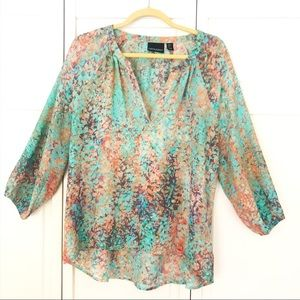 Cynthia Rowley three quarter sleeved blouse. Sz L